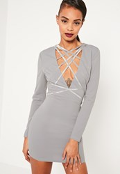 Missguided Grey Crepe Strap Detail Bodycon Dress Green