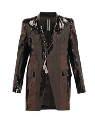 Rick Owens Single Breasted Sequinned Cotton Longline Blazer Black Brown