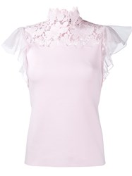 Giambattista Valli Lace Collar Contrast Blouse Pink And Purple