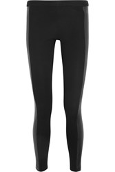 Michael Michael Kors Faux Leather Paneled Stretch Cady Leggings Black