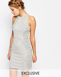 Frock And Frill Embellished High Neck Pencil Dress Grey