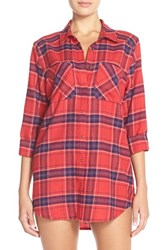 Women's Make Model Flannel Nightshirt Red Couture Chloe Plaid