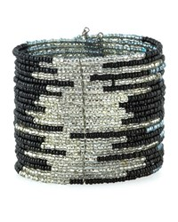 Panacea Wide Beaded Wire Cuff Bracelet Black