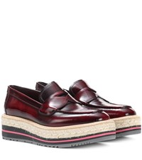 Prada Leather Platform Loafers Brown