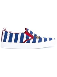 Gucci Striped Slip On Sneakers Blue