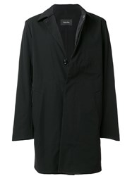Calvin Klein Concealed Button Up Coat Polyamide Spandex Elastane Black