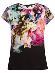 Ted Baker Focus Bouquet Fitted T Shirt Dark Blue