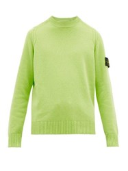 Stone Island Logo Patch Cable Knit Wool Blend Sweater Green