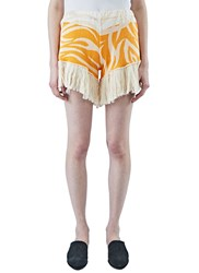 House Of Had Tribai Fringed Jacquard Shorts Orange