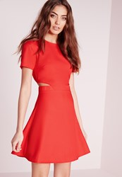 Missguided Short Sleeve Crepe Cut Out Waist Skater Dress Red Red