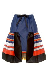 Alexis Mabille Bayadere Flounce Chambray Skirt Blue