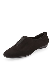 Sesto Meucci Adena Nubuck Leather Stretch Flat Black