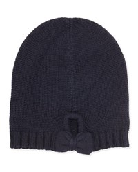 Ivanka Trump Gathered Bow Knit Beanie Black