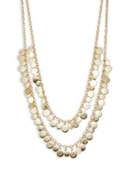 Design Lab Lord And Taylor Shaky Disc Two Row Necklace Gold