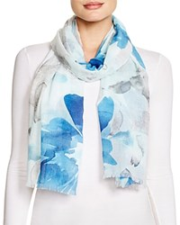 Fraas Watercolor Floral Print Scarf Turquoise