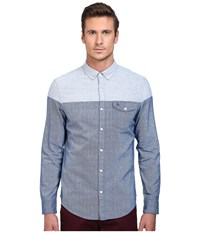 Original Penguin Long Sleeve Brushed Cotton Medieval Blue Men's Long Sleeve Button Up Navy