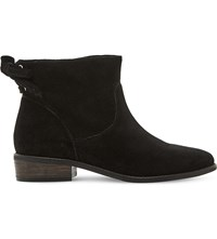 Steve Madden Rear Tie Detail Suede Ankle Boots Black Suede