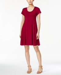 Style And Co Petite Short Sleeve A Line Dress Only At Macy's New Red Am