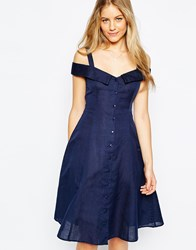Asos Plain Off Shoulder Button Through Midi Sundress Navy