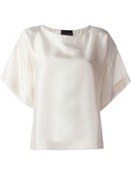 Erika Cavallini Wide Sleeve Boxy T Shirt Nude And Neutrals