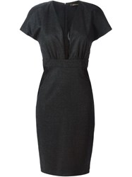 Roberto Cavalli Lace Panel Fitted Dress Grey