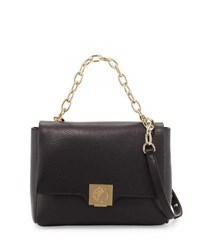 Versace Leather Fold Over Crossbody Bag Black
