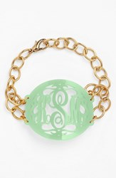 Women's Moon And Lola 'Annabel' Large Oval Personalized Monogram Bracelet Mint Gold Nordstrom Exclusive