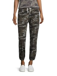 Monrow Camouflage Print Drawstring Sweatpants Olive