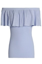 Autumn Cashmere Off The Shoulder Ruffled Ribbed Cotton Top Sky Blue