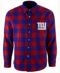 Forever Collectibles Men's New York Giants Large Check Flannel Button Down Shirt Royalblue Red