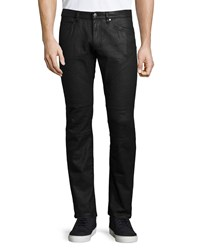 Versace Trend Fit Stretch Coated Moto Jeans Black