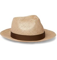 Anderson And Sheppard Grosgrain Trimmed Sisal Hat Sand