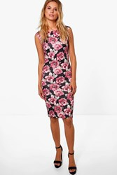 Boohoo Floral Print Bardot Bodycon Midi Dress Multi