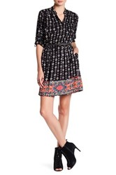 Angie Long Sleeve Button Up Shirt Dress Black