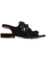 Chie Mihara Nalia Flat Sandals Women Leather Suede Rubber 39 Black