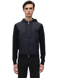 Moncler Nylon Technique And Cotton Jacket Navy
