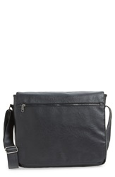Topman Faux Leather Messenger Bag Black