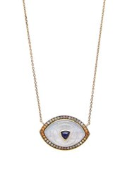 Noor Fares Ajna Diamond Sapphire And 18Kt Grey Gold Necklace Blue