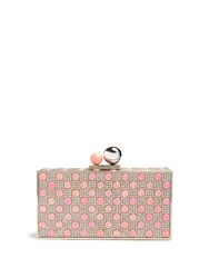 Sophia Webster Clara Crystal Embellished Metal Clutch Pink Multi