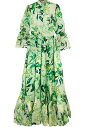 Merchant Archive Tiered Printed Silk Organza Gown Green