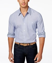 Weatherproof Long Sleeve Printed Woven Shirt Navy