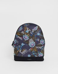 Ted Baker Elect Printed Backpack In Navy