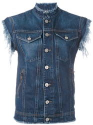 Vivienne Westwood Anglomania Sleeveless Denim Jacket Blue
