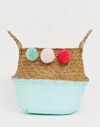 South Beach Foldable Basket Bags With Pom Poms Multi