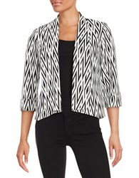 Nipon Boutique Open Front Jacquard Topper Black White