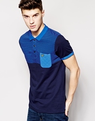 Voi Jeans Polo Shirt With Stripe Panel Pocket Blue