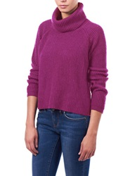 William Rast Chunky Cropped Turtleneck Top Cerise