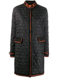 Ermanno Scervino Quilted Chinese Styled Coat Black