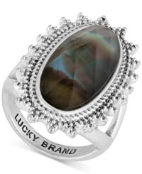 Lucky Brand Silver Tone Mother Of Pearl Look Statement Ring