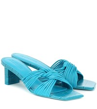 Mercedes Castillo Calisse Croc Effect Leather Sandals Blue